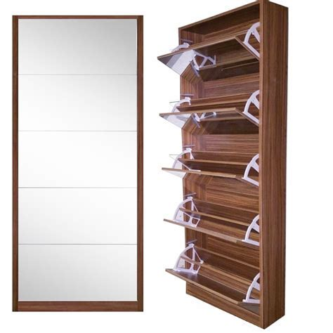 5Door Mirror Shoe Cabinet  WALNUT ? Softy Home