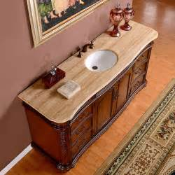 58 Inch Bathroom Vanity 72 Inch Wide Travertine Top Large Single Sink Bathroom