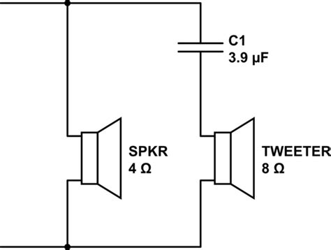 filter capacitor for tweeter filter how to connect a capacitor high pass 1st order to a tweeter in series with a