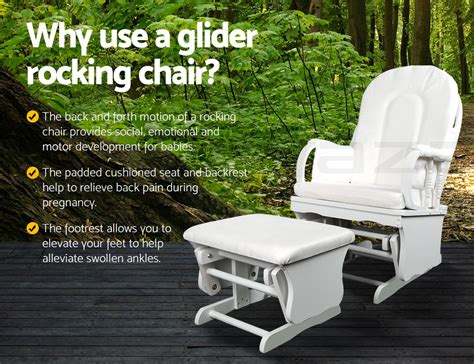 Baby Nursery Glider Rocker Chair With Ottoman Glider Baby Breast Feeding Nursery Sliding Rocking Chair With Ottoman White