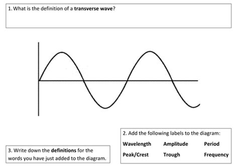 labelled diagram of a transverse wave transverse longitudinal waves starter by mattevans123