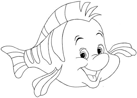Flounder Disney S The Little Mermaid Line Art By Flounder Coloring Pages From The Mermaid
