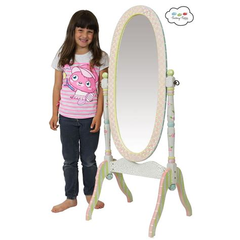 shabby chic floral standing mirror