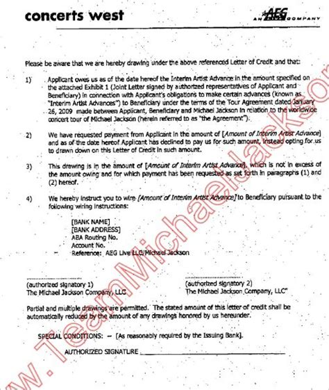 Comerica Bank Letter Of Credit Division the aeg contract with michael jackson vindicating michael