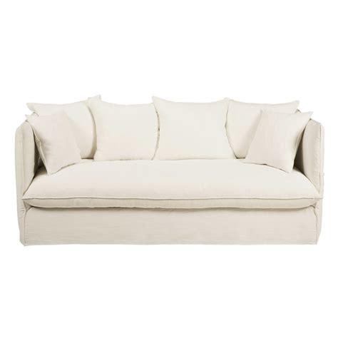 white 3 seater sofa white 3 4 seater washed linen sofa louvre maisons du monde