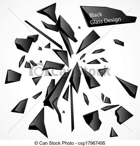 vecteurs eps de cassé, verre, noir, vecteur, dessin