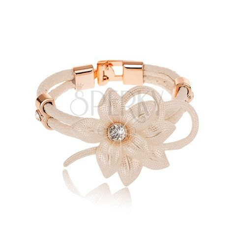 leather strips for jewelry white bracelet big flower with zircon contour