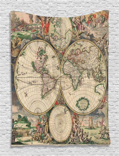 vintage map pattern antique world map pattern tapestry wall hanging living