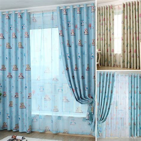 blackout voile curtains owl blackout curtain eyelet ring top or hook sheer tulle