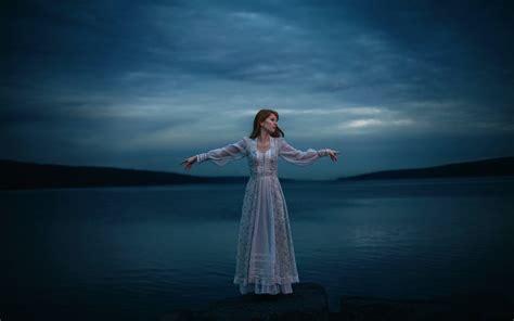 lonely girl at night lonely girl lake white dress night wallpaper