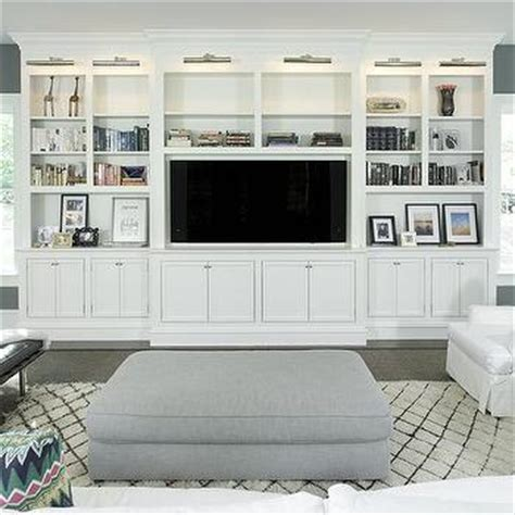 White Living Room Cabinets by Bungalow Living Room With White Built In Tv Cabinets