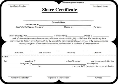 share certificate template free word templatesfree word