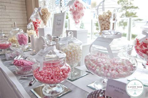 pink and white wedding candy buffet by candy bar sydney