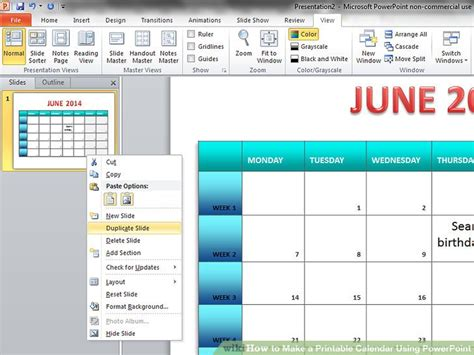 how to make calendar for how to make a printable calendar using powerpoint 9 steps