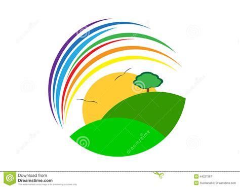rainbow house beautiful nature phenomenon vector logo icon logo stock vector image 44227587