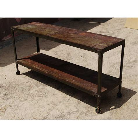 Rustic Industrial Distressed Reclaimed Wood Iron Rolling Rolling Sofa Table