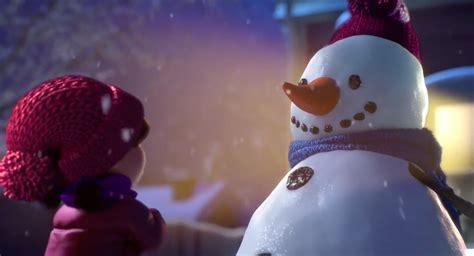 commercial woman hits snowman a girl and her snowman are bffs in a christmas ad to warm