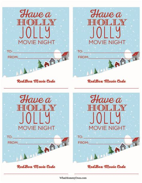 redbox printable gift certificates cute redbox neighbor christmas gift idea neighbor