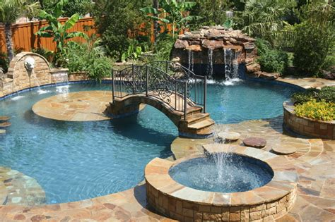 Tropical Backyards With A Pool Home Decorating Ideas Backyard Pool Images