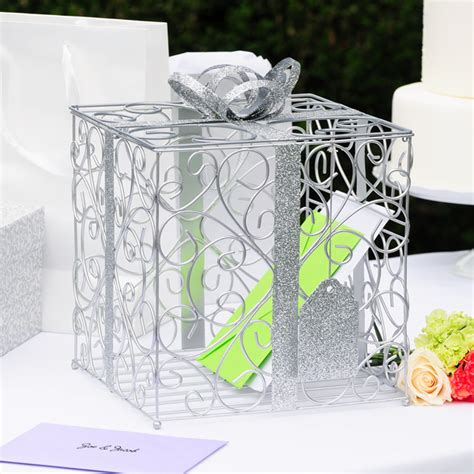 damask gift box design wire mesh reception card holder - Gift Box Card Holder