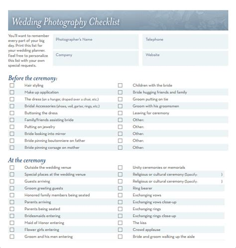 Wedding Photography Checklist by Sle Wedding Planning Checklist 6 Exle Format