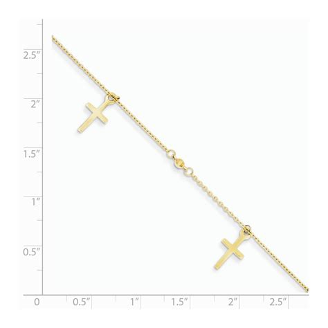 Cross Anklet 14k yellow gold polished and textured cross anklet
