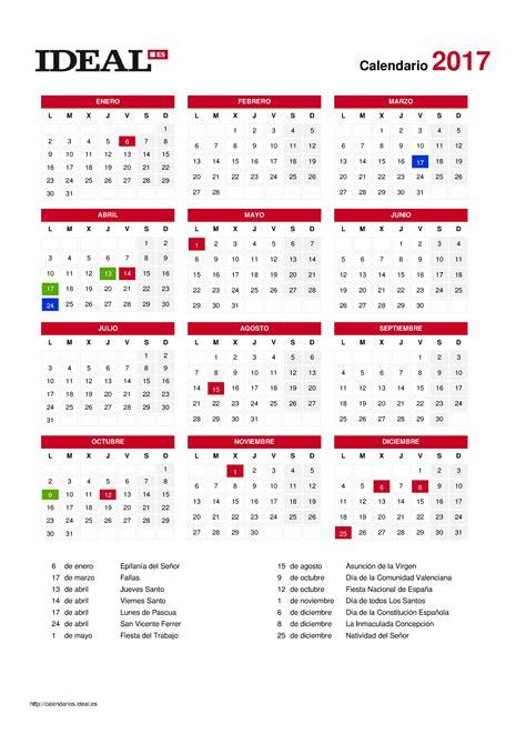 Calendario Oficial 2017 Laboral Calendario Laboral 2017