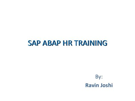 Sap Courses For Mba Hr by Sap Abap Hr