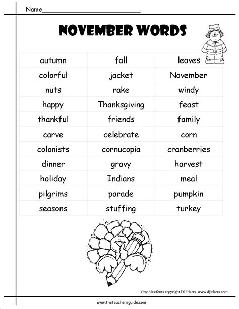 themes word list november lesson plans themes printouts crafts and holidays