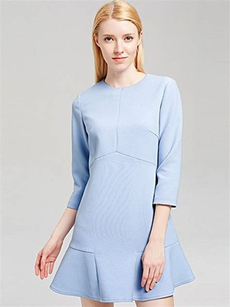 Hem Sabri Blue 4 light blue flounce hem 3 4 sleeve mini dress big discount the most classic top quality 36 9800