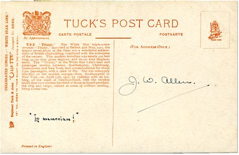 Who Sent The Postcard In Or Titanic Picture Postcards