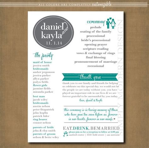 modern wedding program template modern wedding program ceremony program by
