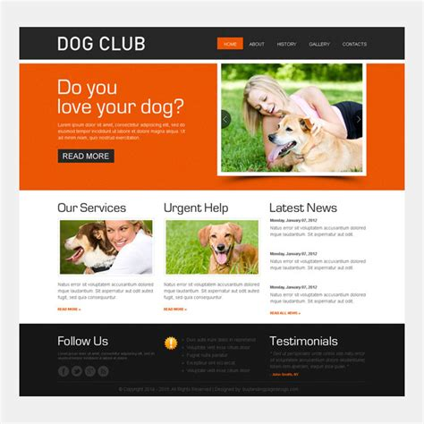 Dog Club Website Template Design Psd Purchase Website Templates