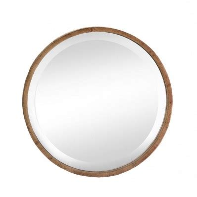 wood frame round wall mirror – house artware