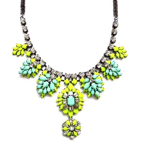 neon nightingale enamel statement necklace