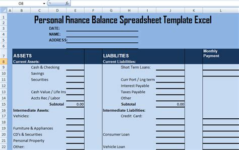 Personal Finance Balance Spreadsheet Template Excel Excel Spreadsheet Templates Sheets Finance Template