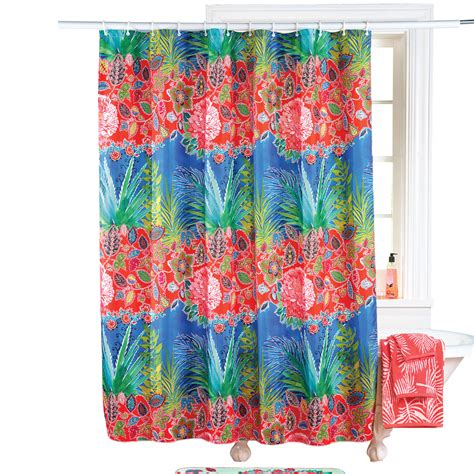 island shower curtain tropical island flower shower curtain 71 quot x71 quot square red