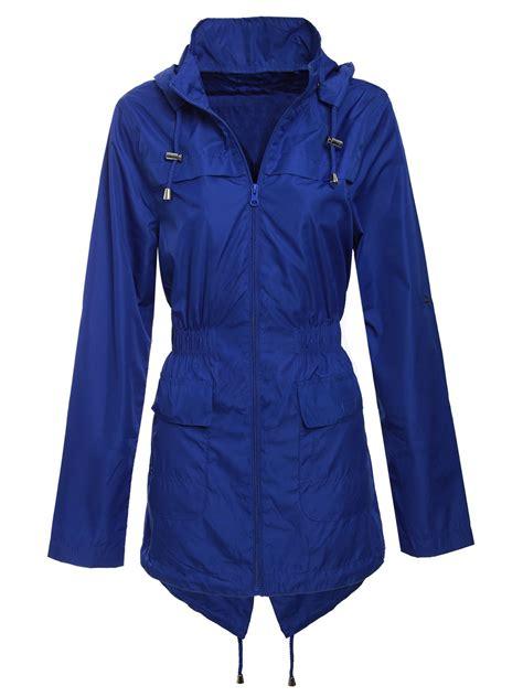 Coat Zipper Dea 7 new womens plain mac jacket fishtail hooded showerproof parka raincoat ebay