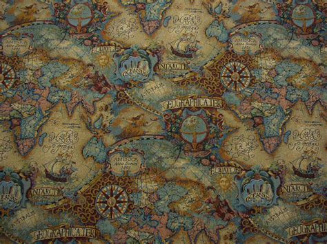 world map upholstery fabric magellan s quest old world map upholstery fabric multi ebay