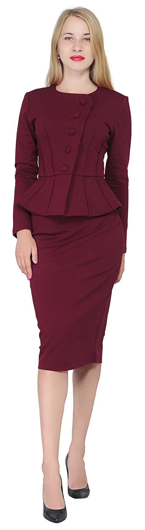 Blouse Brukat Mng Suit Maroon burgundy marycrafts s formal office business work