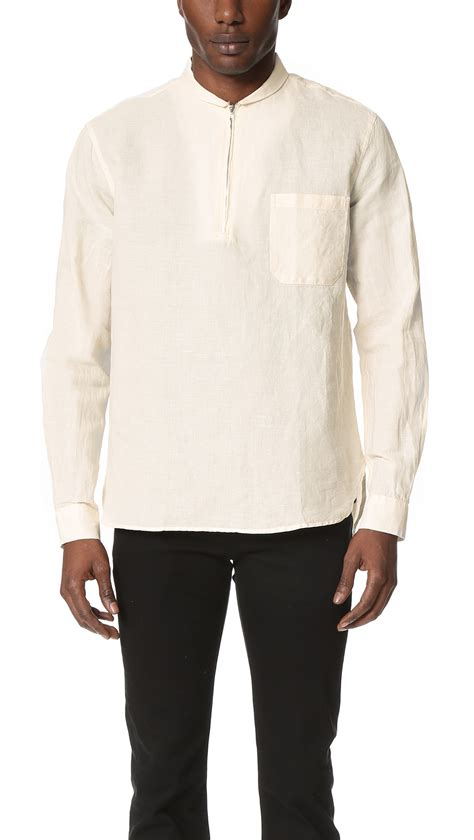 Shawl Shirt White lyst our legacy shawl zip shirt in white for