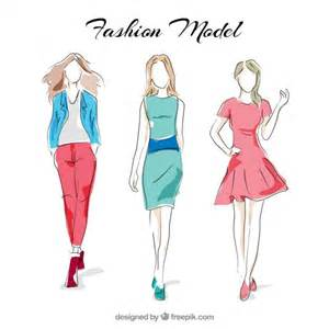 dress design template model stylish fashion models vector free