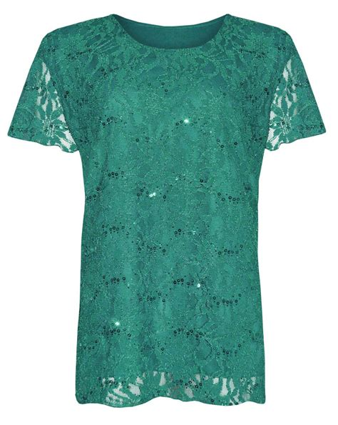 pattern ladies shirt womens plus size lace sequin lined blouse floral pattern