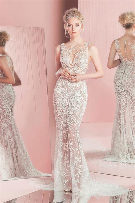 lace sheer wedding gowns zuhair murad summer 2016 bridal bateau sheer