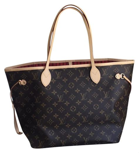 louis vuitton neverfull mm monogram red tote bag totes