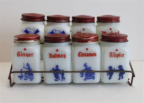 spice rack with empty jars vintage milk glass spice jars with red metal spice rack