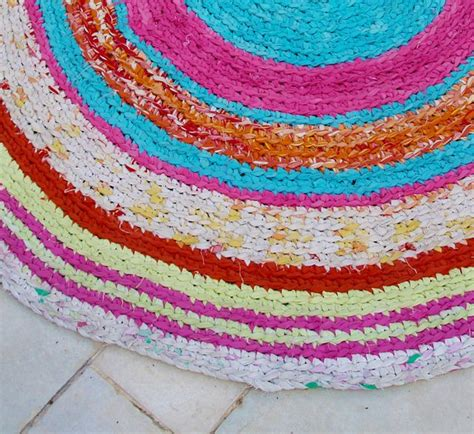 Crochet Rugs From Sheets by Crocheted Rag Rug Closeup Knitting Crocheting