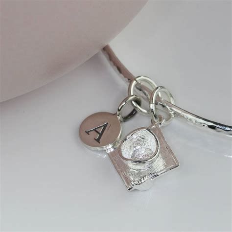 personalised graduation silver charm bangle by nest