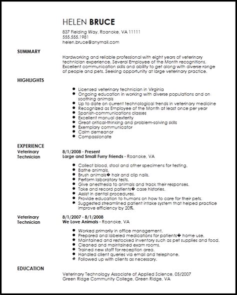 Resume Template Veterinarian by Free Traditional Veterinary Technician Resume Template