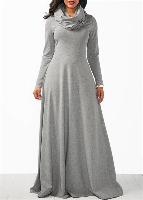 Maxi Arabiah Grey by Grey Cowl Neck Sleeve Maxi Dress Rosewe Usd